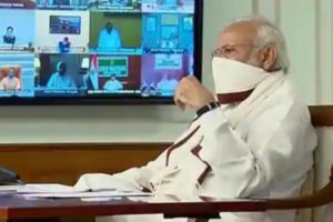 PM Modi seen wearing a homemade mask in video conference with Chief Ministers